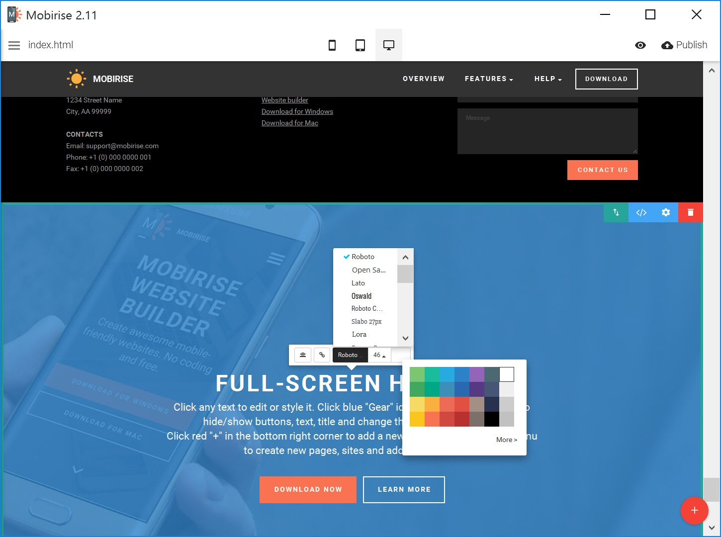 Responsive Easy Website Creator Tool