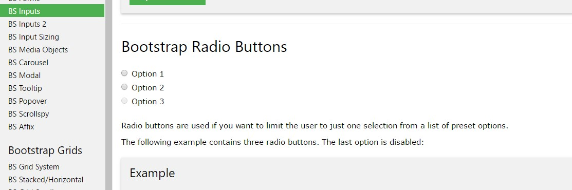 Bootstrap Radio button -  information