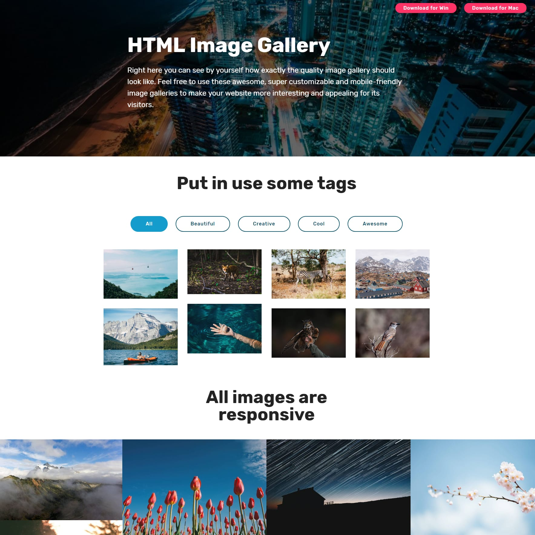 Mobile Bootstrap Image Gallery
