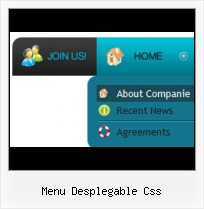 Javascript Menu Mouseover html css style glass menu