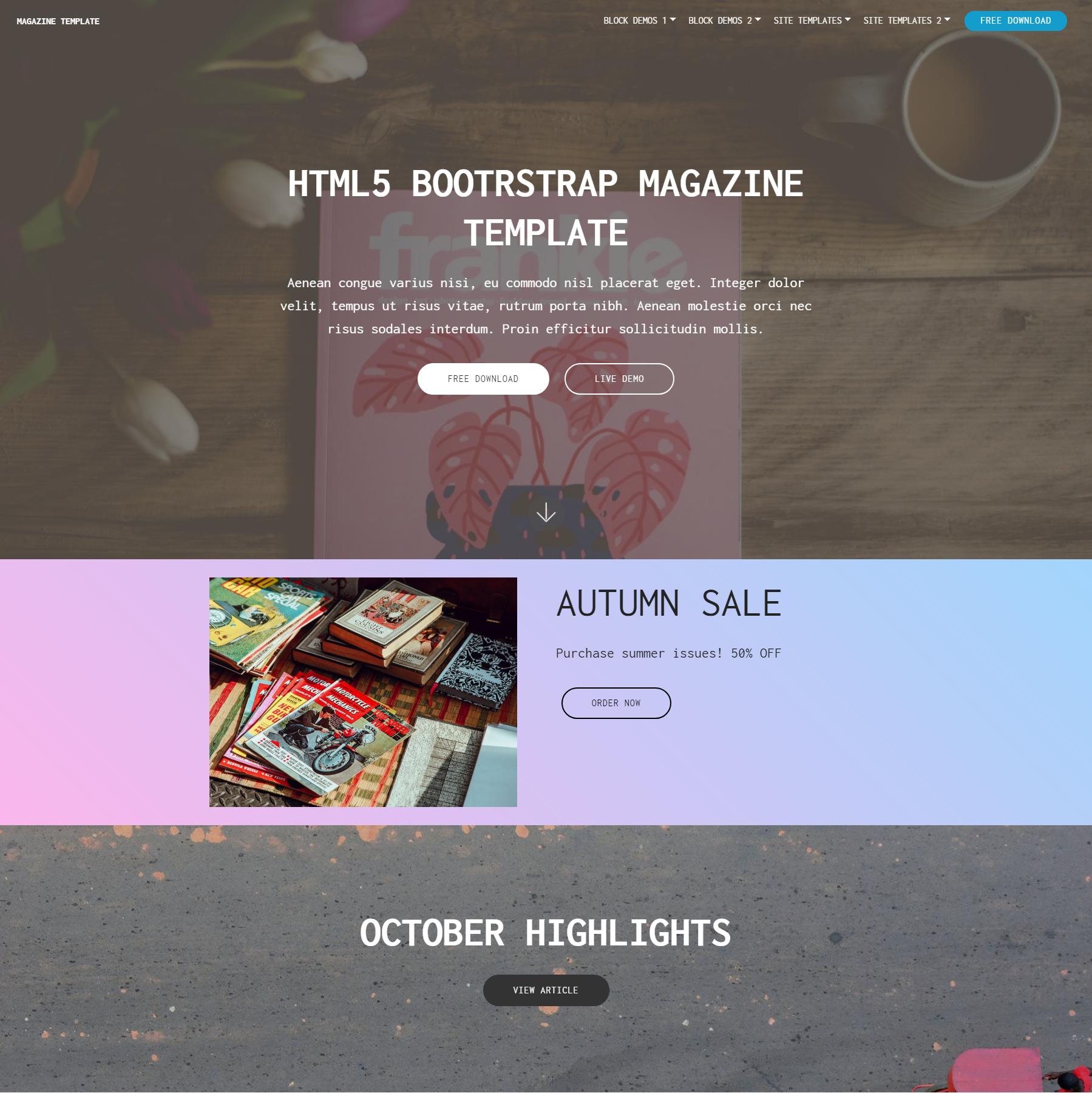 HTML5 Bootstrap Magazine Templates