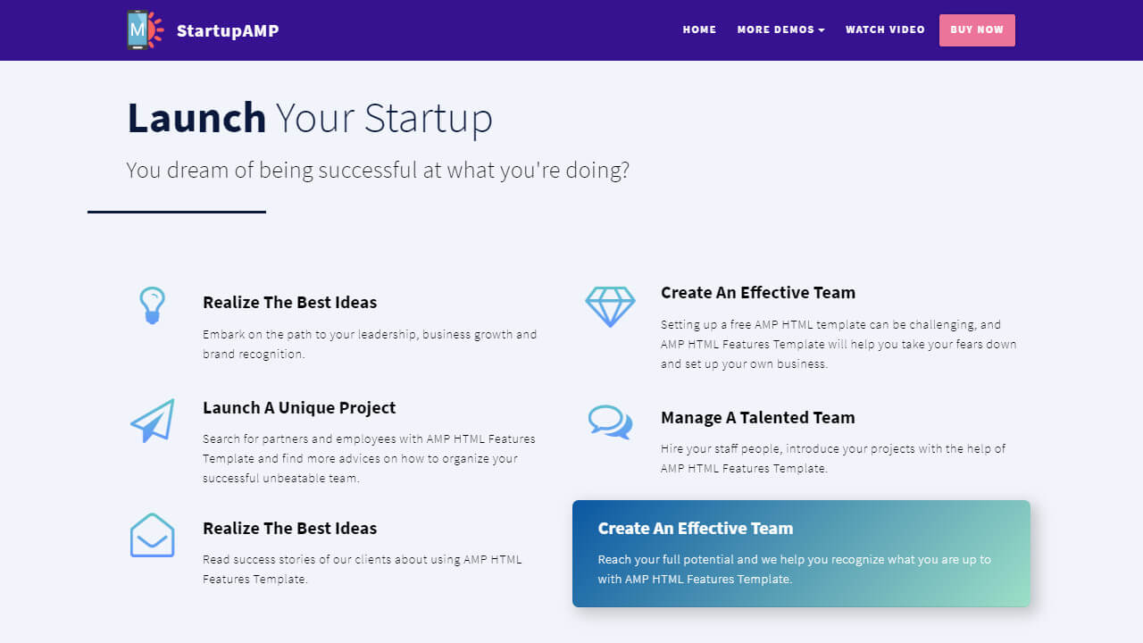 AMP HTML Features Template